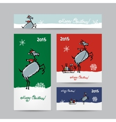 Funny goat santa christmas cards design vector
