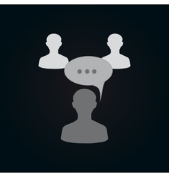 Icon of connected person with chat bubble vector