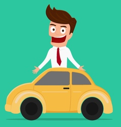 Businessman with car investment concept vector