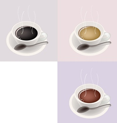 Three coffee cups vector