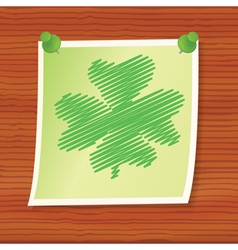 Note with fourleaf shamrock vector