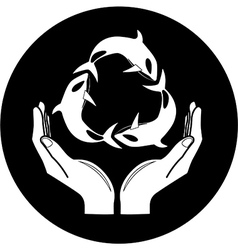 Killer whale and hands icon vector