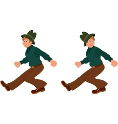 Happy cartoon man walking in green hat vector