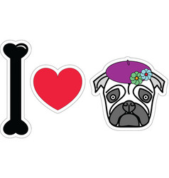 I love pug female with beret and flowers vector