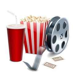 Movie showing with popcorn film reel and drinks vector
