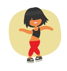 Sporty dancing beautiful teenager girl vector
