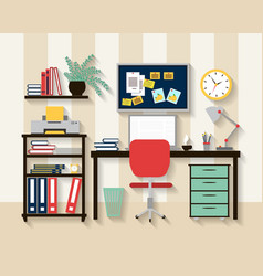 Workplace in cabinet room interior vector