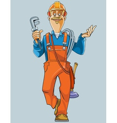 Cartoon plumber in uniform comes with tools vector