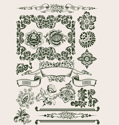 One color flowers vintage clipart vector