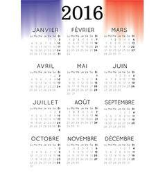 French 2016 calendar vector