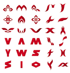 Collection of abstract red icons vector
