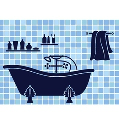 Blue bathroom interior vector
