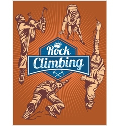 Rock climbing set - emblem and climbers vector