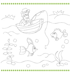 Coloring book with fisherman vector