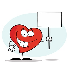 Grinning heart holding a blank white sign vector