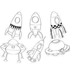 Silhouettes of the different spaceships vector