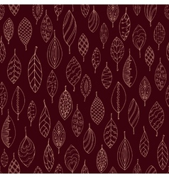 Autumn dark red seamless stylized leaf pattern in vector
