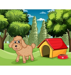 A dog standing outside his dog house vector