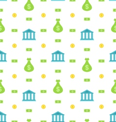 Seamless pattern with bank institution bank notes vector