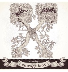 Fable forest hand drawn by a vintage font - x vector