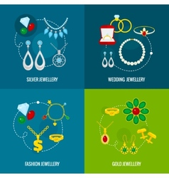 Jewelry icon flat set vector