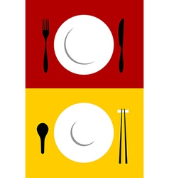 Place setting backgrounds on red and yellow vector