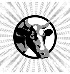Black and white label cow vector
