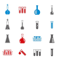 Chemical and medical flask icons set vector