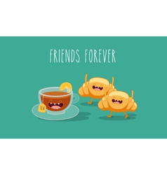 Tea and croissant vector