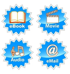 Blue entertainment icons vector