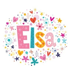 Elsa female name decorative lettering type design vector