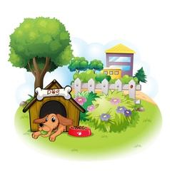 A dog inside a doghouse across the big buildings vector