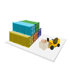 Forklift shipping boxes into container vector