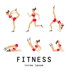 Stretching exercises related jogging performed vector