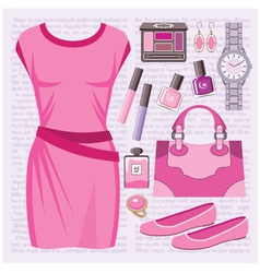 Fashion set with a casual dress vector