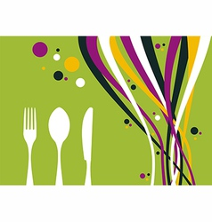 Fork knife and spoon with multicolored waves vector
