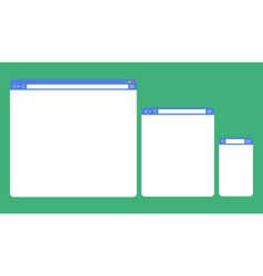 Flat blank browser window on different devices vector