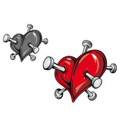 Love heart nails tattoo vector