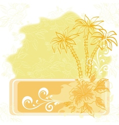 Exotic background palm and flowers vector