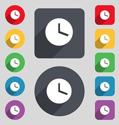 Mechanical clock icon sign a set of 12 colored vector