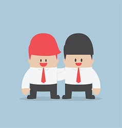 Businessman embrace his partner team work concept vector