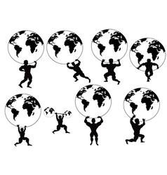 Strong man lifting earth vector