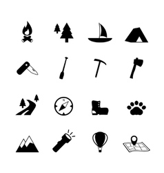 Outdoors tourism camping pictograms vector