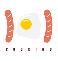 101 sausage and fried egg primary cooking concept vector