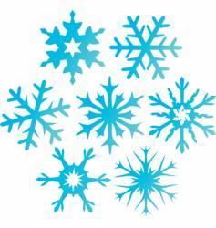 Seven blue snowflakes illustration vector