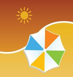 Summer with umbrella color vector