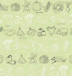 Kitchen seamless pattern with vegetables on light vector