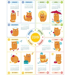 Calendar 2015 with cute cats vector