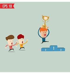 Cartoon businessman jump over winner podium - vector