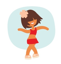 Cartoon kid style sporty dancing beautiful girl vector